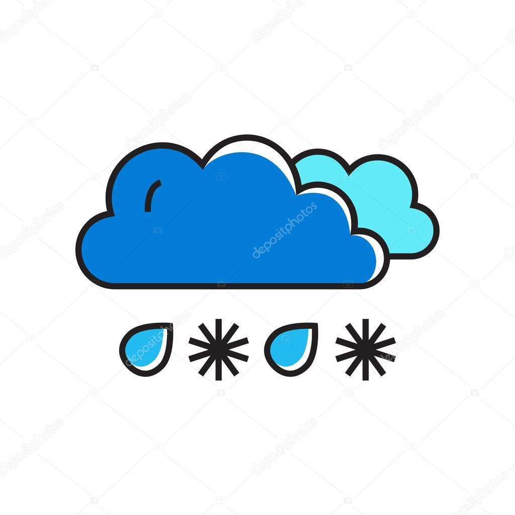 snowy with rain line icon ストックベクター surfsup vector gmail