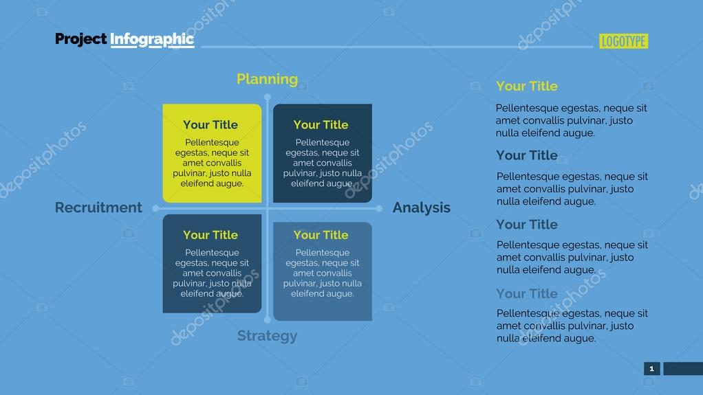 Four Side Matrix Diagram Slide Template — Stock Vector © surfsup