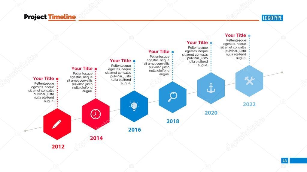 Plantilla de diapositiva de la línea de tiempo — Vector de stock ...