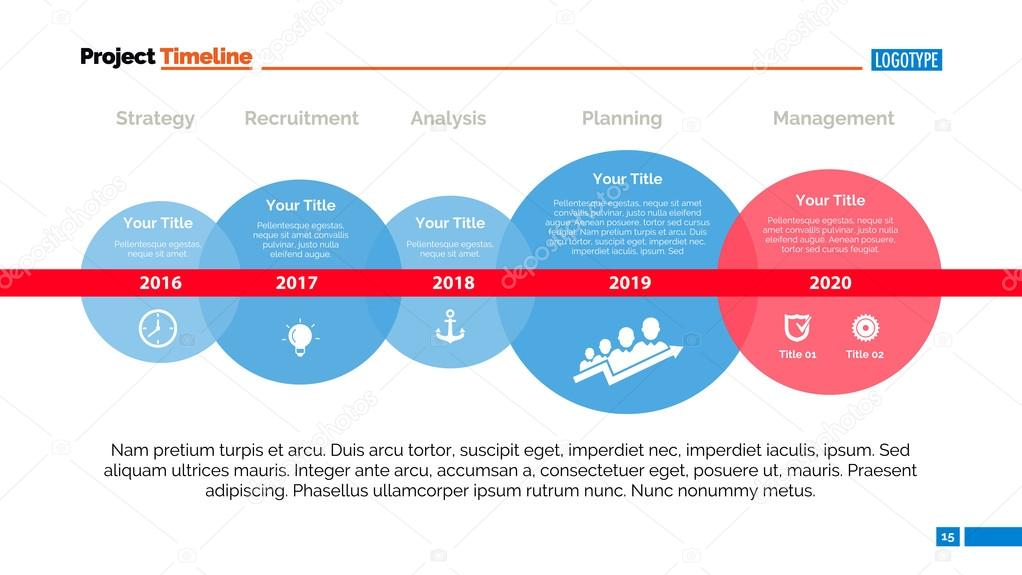 Línea de tiempo y tamaño de la diapositiva plantilla — Vector de ...