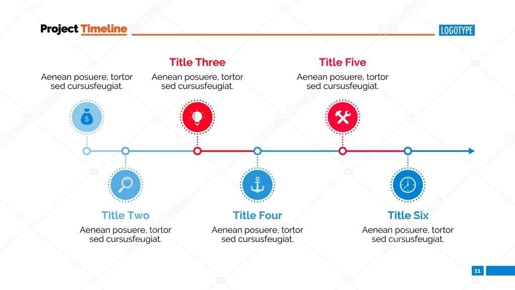 Plantilla de diapositiva de gráfico de línea de tiempo horizontal ...