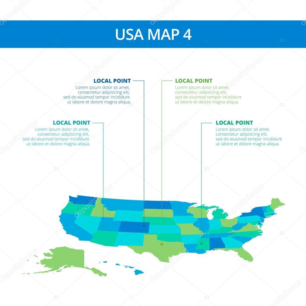 USA Kartenvorlage 4 — Stockvektor © surfsup.vector.gmail.com #98695166