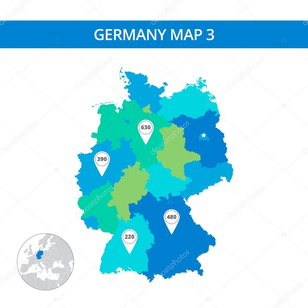 Germany Map Template Stock Vector Surfsupvectorgmailcom - Germany map template