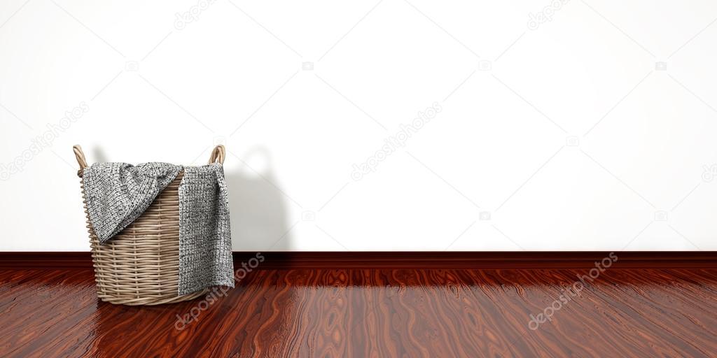 Schilderij Plank Karwei.Volle Wasmand Huishoudelijk Karwei Concept Op Witte Achtergrond