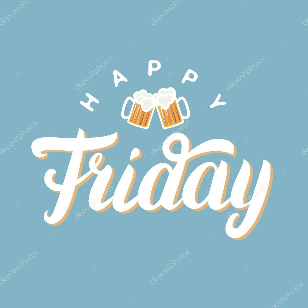 Happy friday hand lettering for greeting card with two beer on blue happy friday hand lettering for greeting card with two beer on blue background stock m4hsunfo
