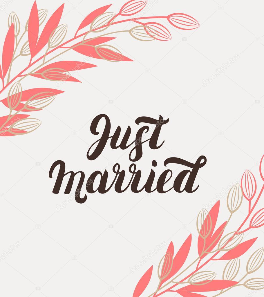 Frisch Verheiratete Hand Schriftzug Mit Zweigen Hintergrund Fur
