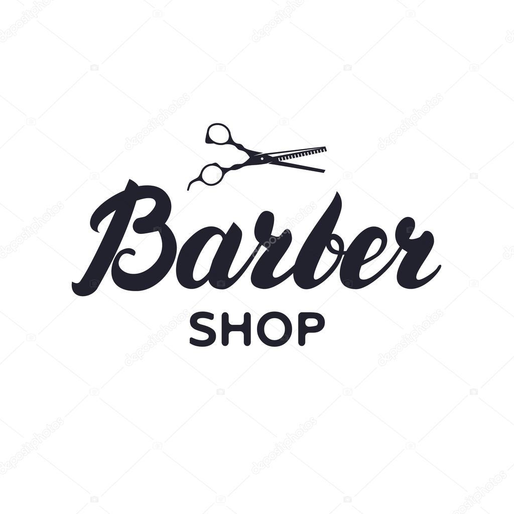Logotipo, etiqueta, distintivo para a barbearia, salão de cabeleireiro com  uma tesoura —