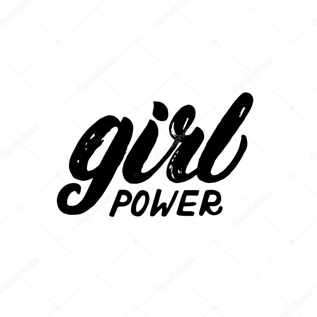 Girl Power Hand Written Lettering Stock Vector