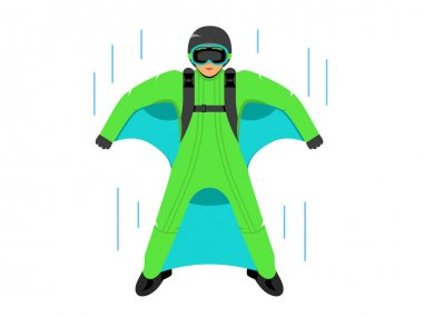Wingsuit B.A.S.E. jumper sign. Branding Identity Corporate logo design template Isolated on a white background