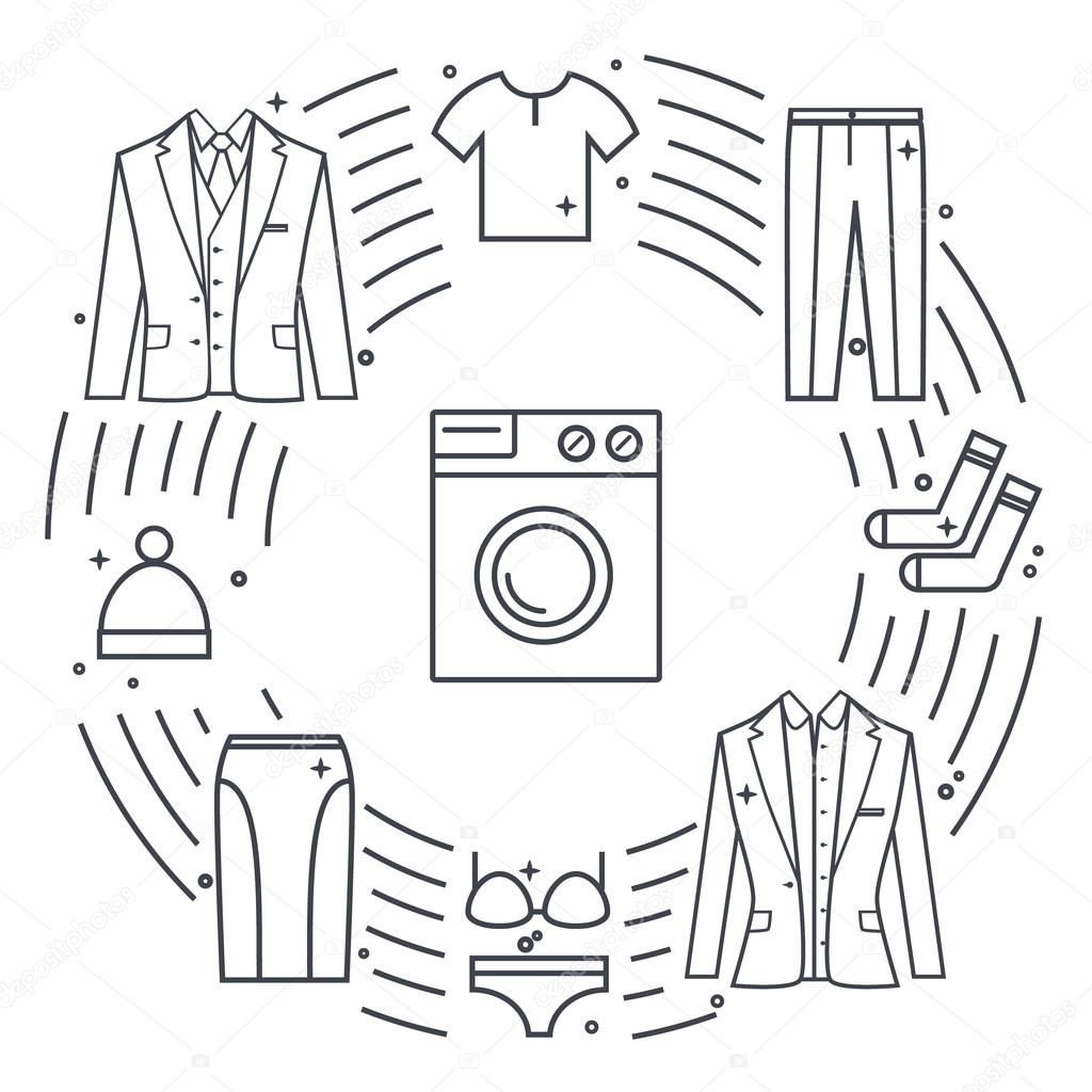 Dry-cleaning and laundry vector objects. Unique vector concept with different clothes elements: washer, jacket, skirt, hat, socks, t-shirt.