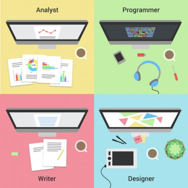 Freelance infographic. Working with laptop. Web developer, graphic designer, analyst and writer. Freelance jobs.