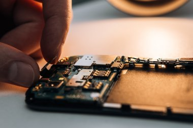 Disassembled parts on a smartphone
