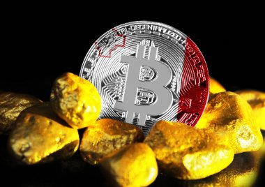 Bitcoin is marked with the flag of Malta, against the background of gold ore