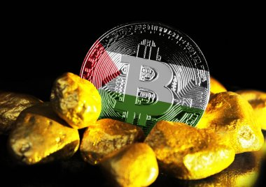 Bitcoin is marked with the flag of Palestine, against the background of gold ore