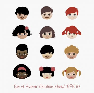 Set of avatar children heads isolated. Icon vector