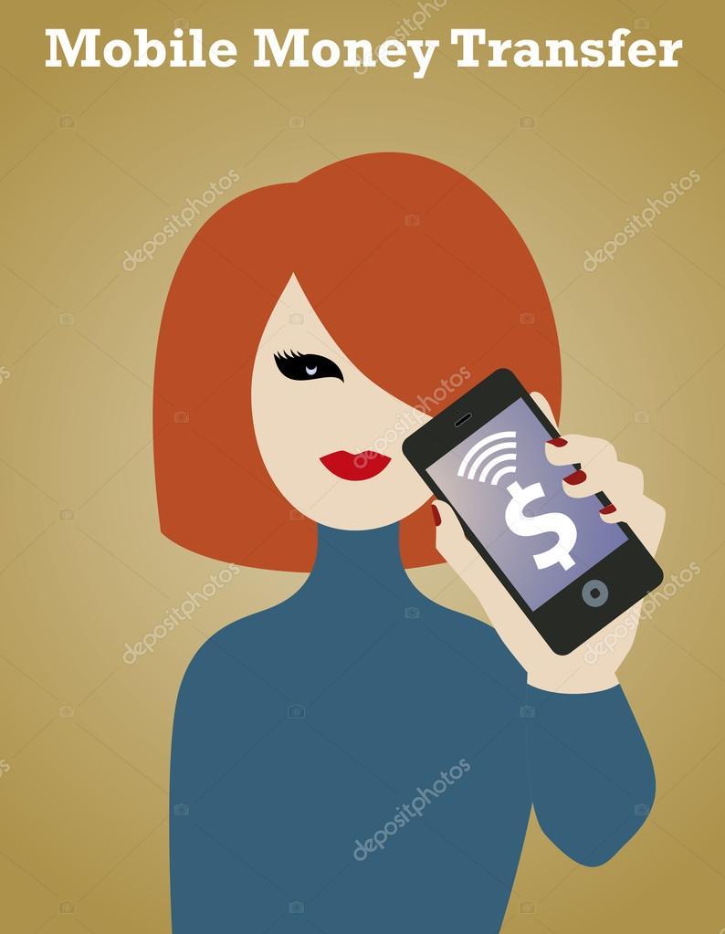 e2ebb0d16 Telefone inteligente garota de dinheiro — Vetores de Stock ...
