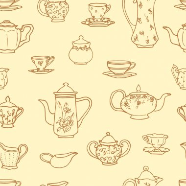 Vector seamless pattern with vintage tea things