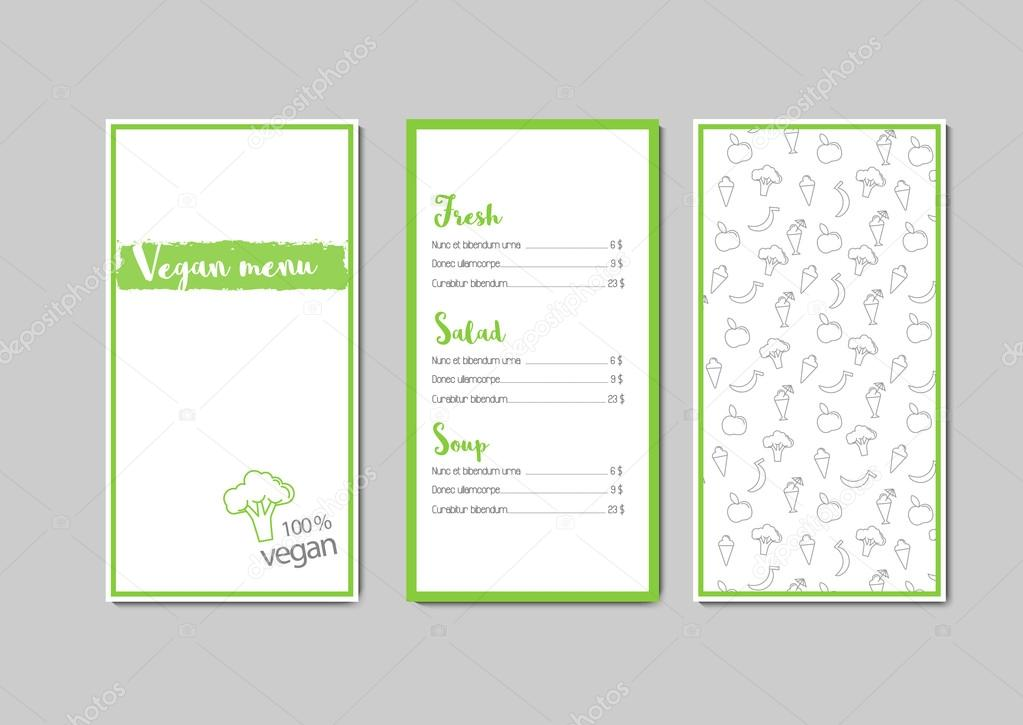 vector vegan menu template from 3 pages with pattern green and gray