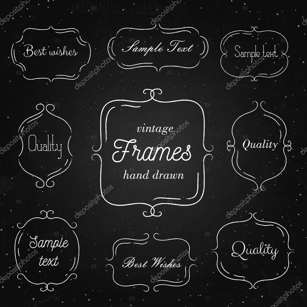 Satz von Hand Vintage-Rahmen auf Tafel gezeichnet. Vorlage für Retro ...