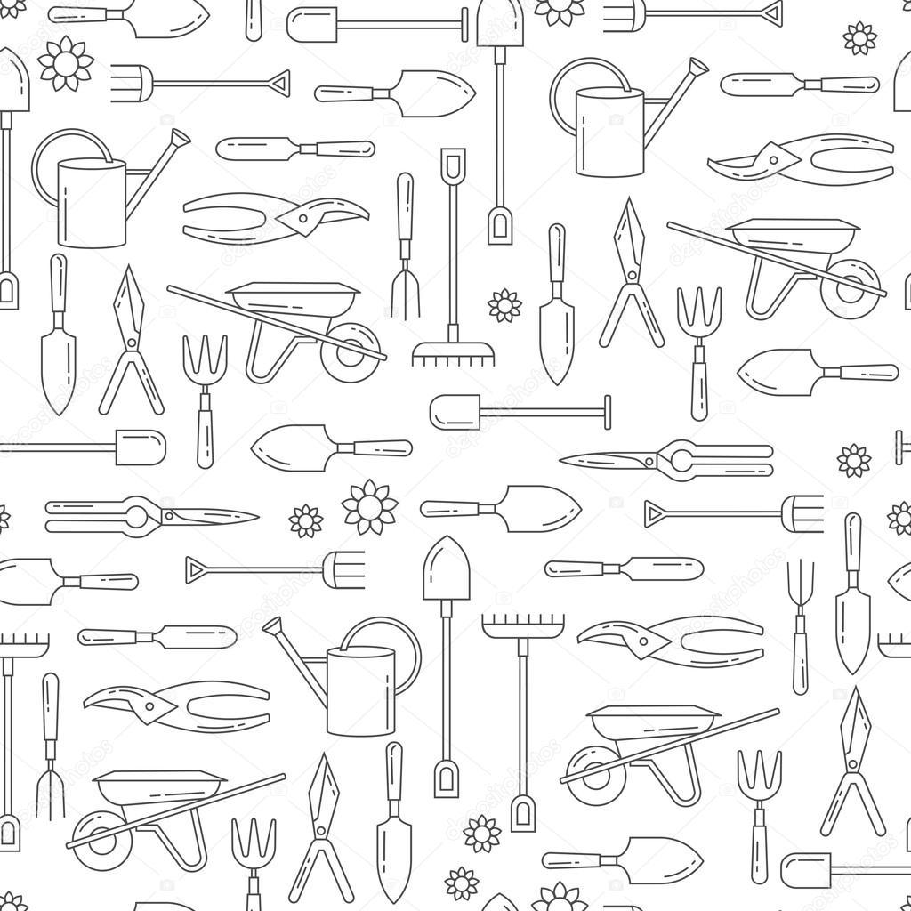 Modèle sans couture de vecteur avec outils de jardin. Fond de site ...