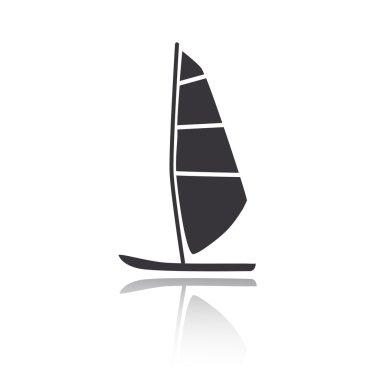 Vector illustration of windsurfing board. Windsurfing icon. Windsurfing favicon.