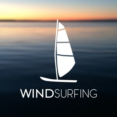 Vector illustration of windsurfing board on the blurred sea background. Windsurfing icon.