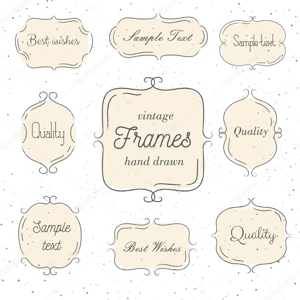 Set of vintage hand drawn pink frame. Vector illustration. Good for ...