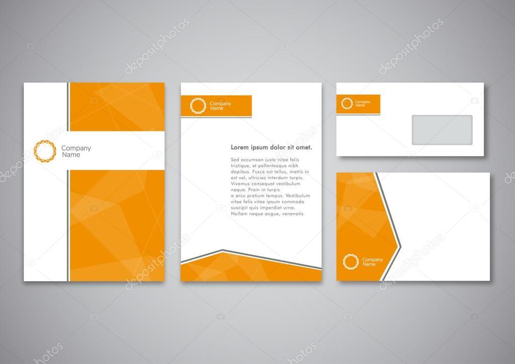 Plantilla de identidad corporativa naranja. Estilo de la compañía ...