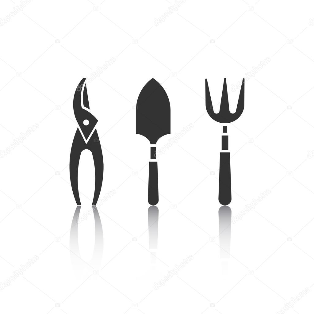 Conjunto de iconos con el reflectoin herramientas de for Objetos de jardineria