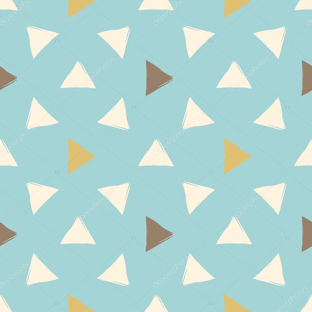 Padrão Sem Emenda De Mão Desenhada Vector. Triângulos De Laranja, Braun E  Turquesa.