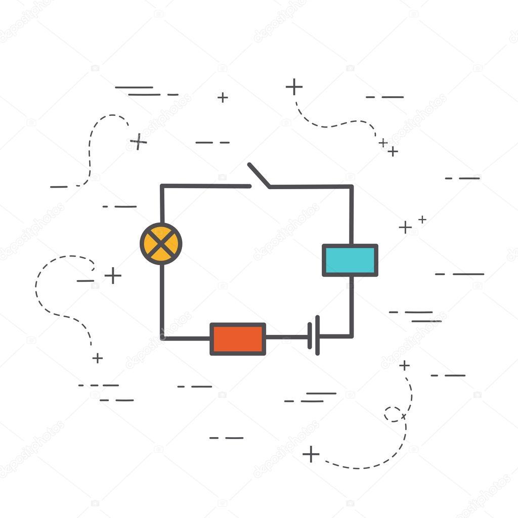 Circuito Eletrico : Ícone de linha plana circuito elétrico conceito de física