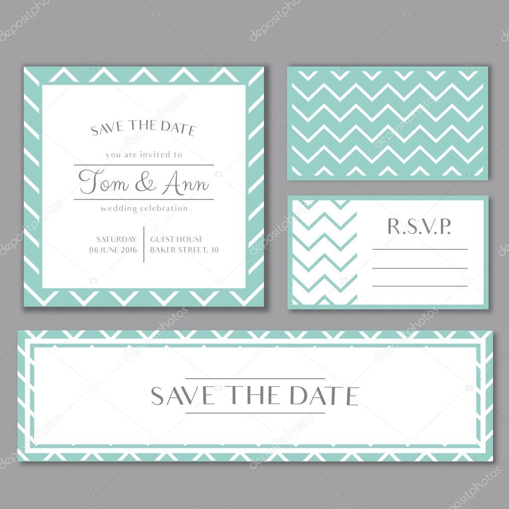 Plantilla de vectores para tarjeta de invitación de boda con rayas ...