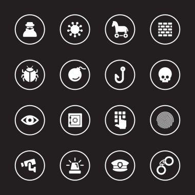 white flat icon set 7 with circle frame