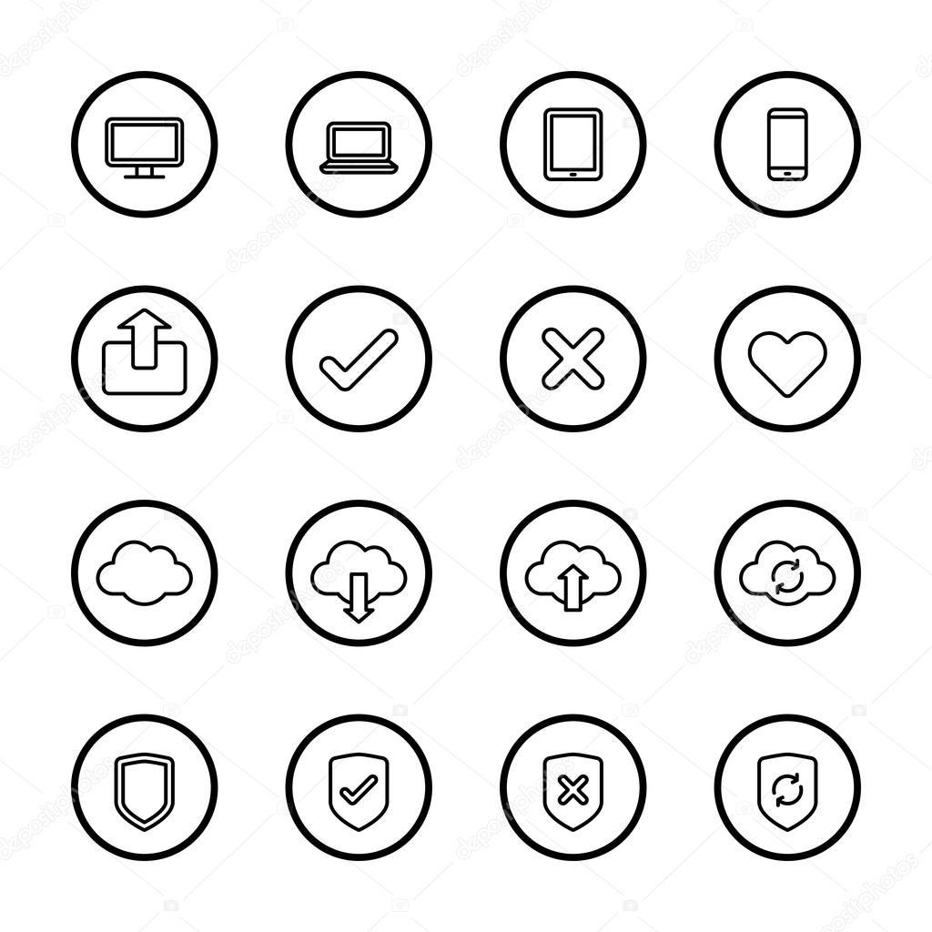 icono de la web de línea negra con marco de círculo — Vector de ...