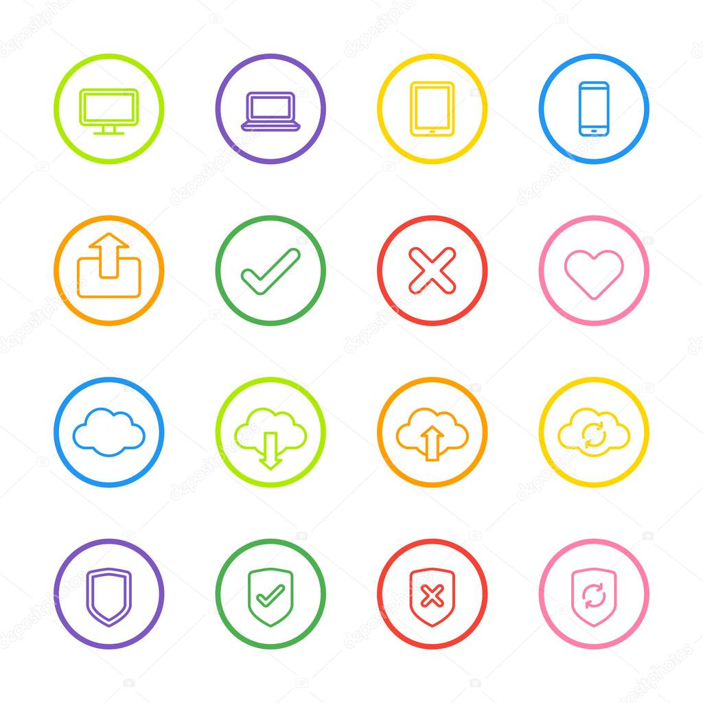icono de la web de línea colorida con marco de círculo — Vector de ...
