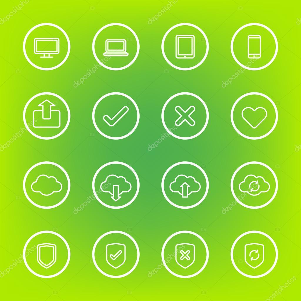 icono de la web de línea blanca con marco de círculo — Vector de ...