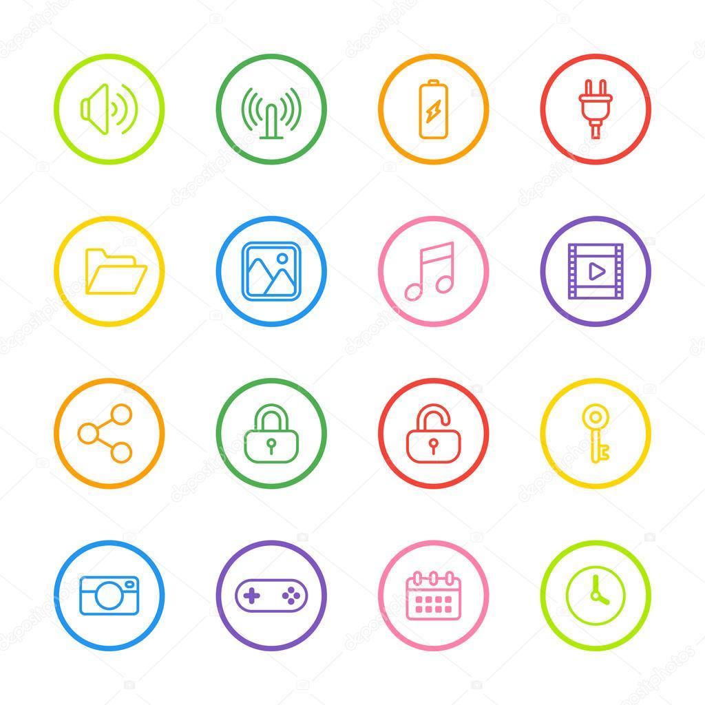icono de la web de línea colorida con marco de círculo — Archivo ...