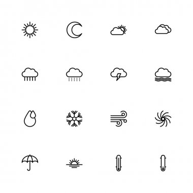 Black line weather icon set for web design, user interface (UI), infographic and mobile application (apps) clip art vector