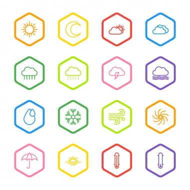Colorful line weather icon set with hexagon frame for web design, user interface (UI), infographic and mobile application (apps) clip art vector