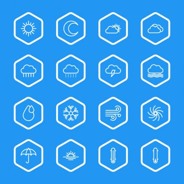 White line weather icon set with hexagon frame for web design, user interface (UI), infographic and mobile application (apps) clip art vector