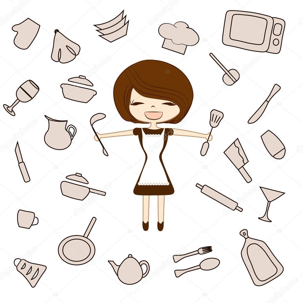 Impostare strumenti sagoma degli utensili della cucina ...