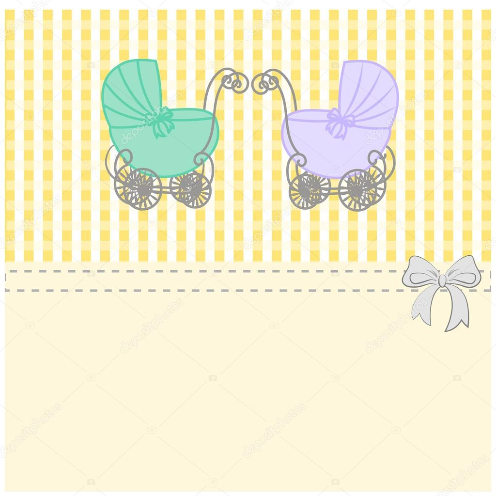 Baby shower announcement twins vintage baby stroller invitation or baby shower announcement twins vintage baby stroller invitation or card birthday vector background illustration vetor por konevaelviraail stopboris Choice Image