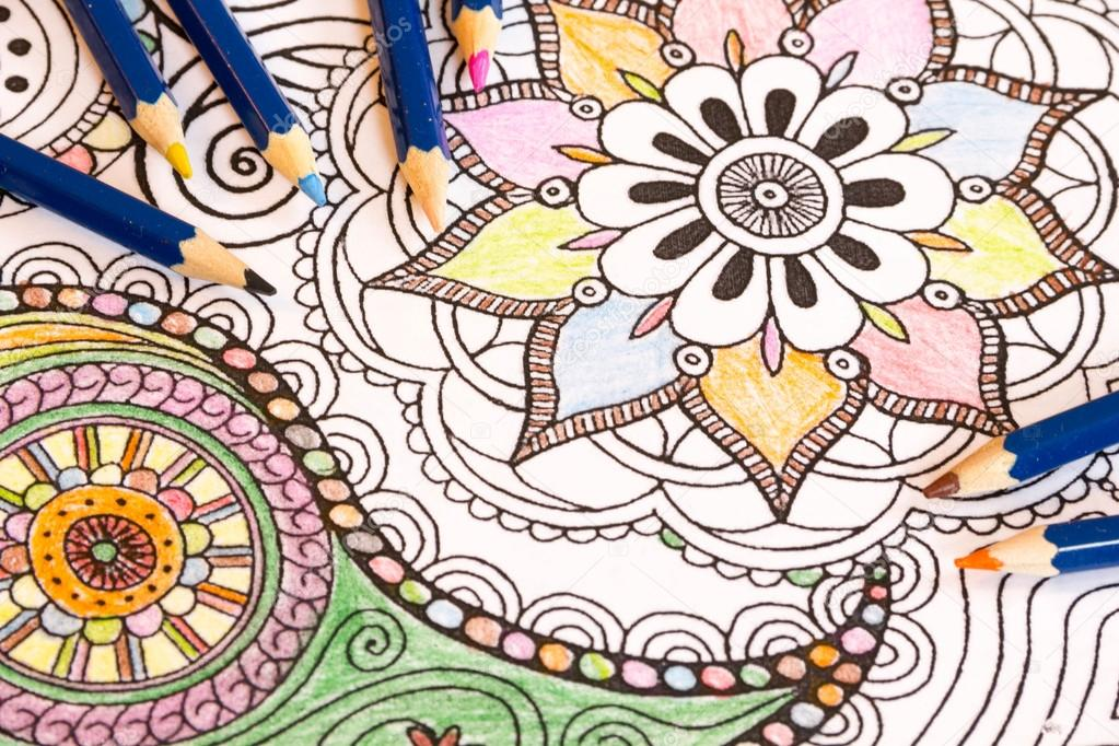 Adult Colouring Books With Pencils New Stress Relieving Trend Mindfulness Concept Person Coloring Illustrative