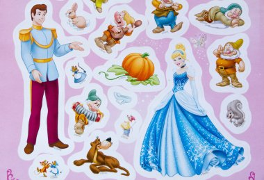 Moscow, Russia - 03, 29, 2016: Photo of Walt  Disney Princess Cinderella stickers for girls, Editorial cartoon characters from books and movies