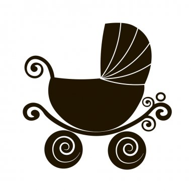 silhouette cute stroller, vintage  baby carriage, online store, logo, Flat vector icon., sale