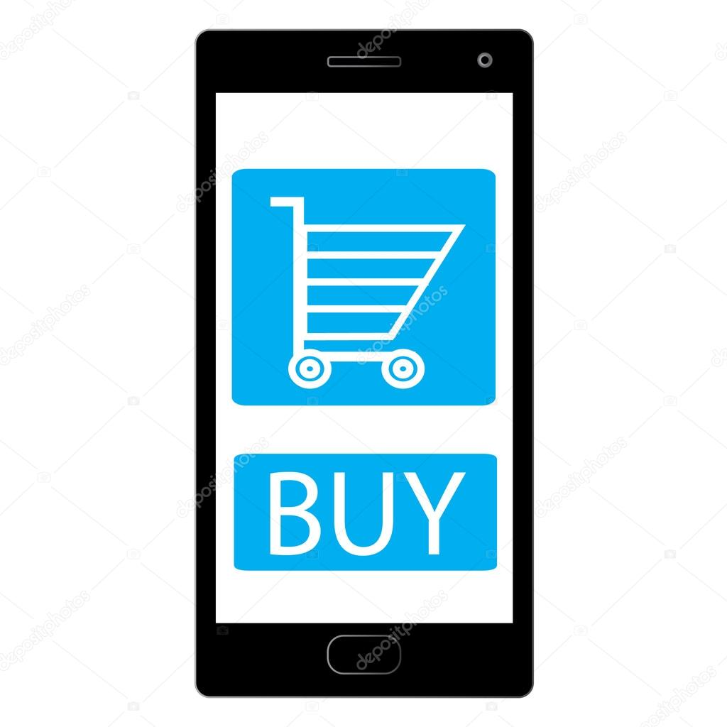generic black mobile device with buy app on white background useful