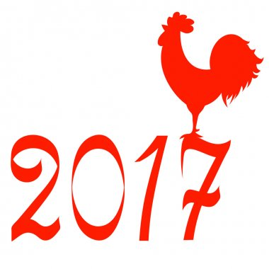 Icon fire rooster, symbol of Chinese new year 2017. Flat design vector illustration icons and logos. red on white. The concept of a new year on the Chinese calendar