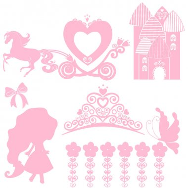 Cinderella set of collections. Crown, Vector illustration. design elements for little Princess, glamour girl. cards for birthday, wedding invitation. the carriage, the Palace, Pegasus, dancing, tiara.