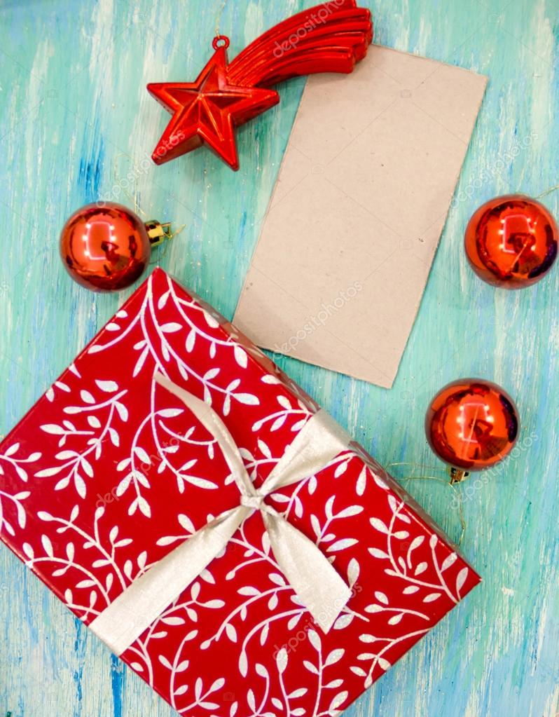 Christmas Card red gift box with silver ribbon. party invitation ...