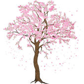 Photo Isolated sakura spring blossom blooming tree with flowers illustration with detailed drawing bark